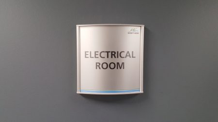 VSC150-6P Office Square Wall Sign Electrical Washroom sample