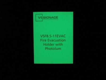 VSF8.5-11EVAC Fire Evacuation Holder with Photolum Glo in the Dark Insert