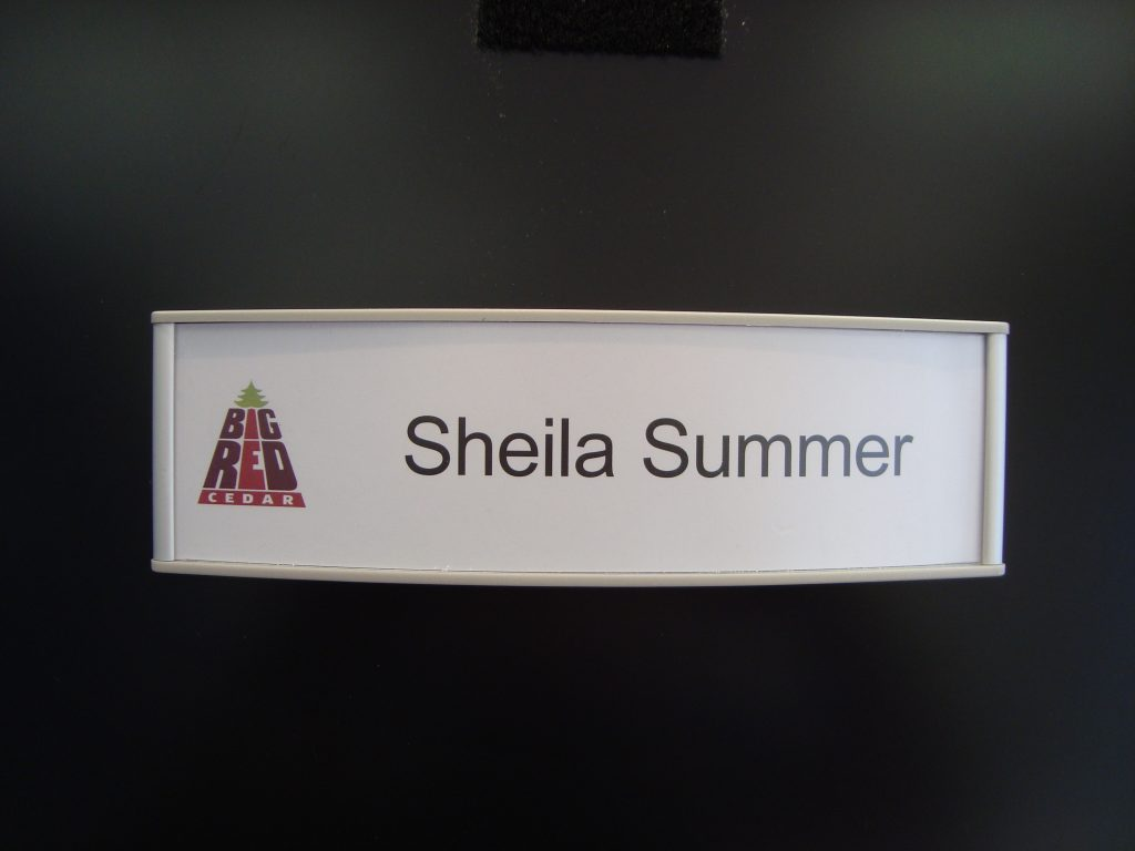 VSC8.5-2.25P Curved Office Nameplate with Big Red sample