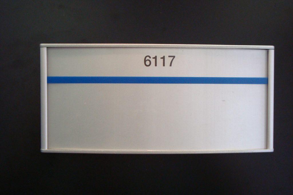 VSC8.5-4P Large Office Name plate blue line sample