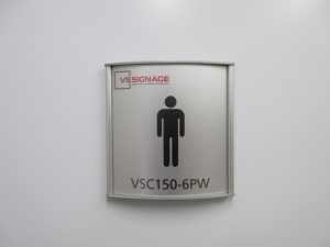 VSC150-6PW Washroom Sign - Curved