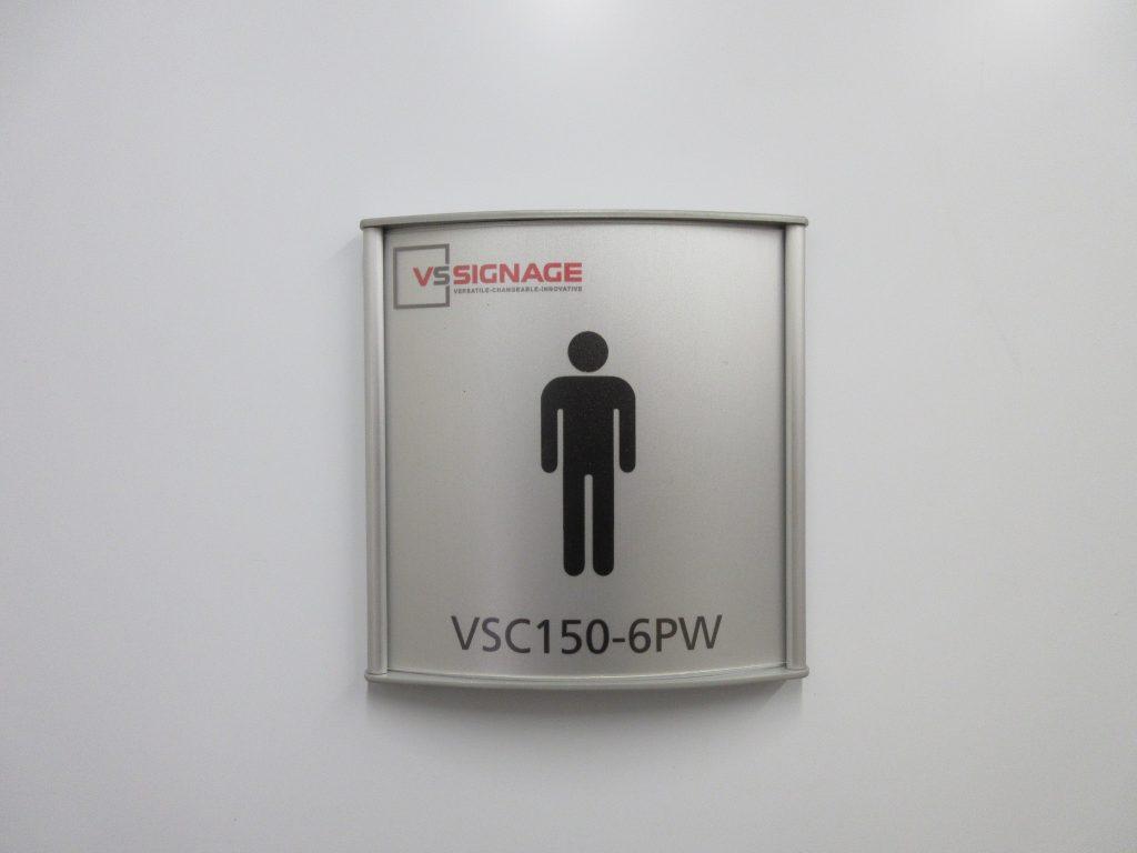 VSC150-6PW Washroom Sign - Curved